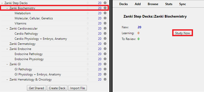 medical school zanki select a deck to study